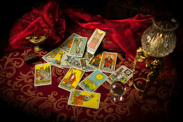 Tarot Cards Spread and scattered on Table Haphazardly