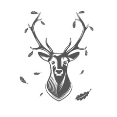 Vector deer head with oak leaves.