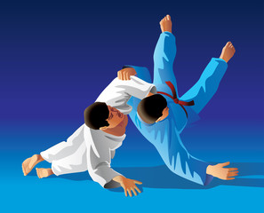 Vector illustration of judo