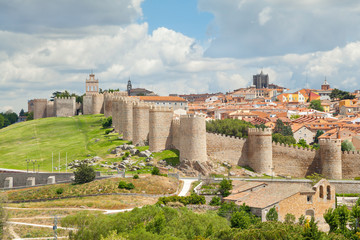 Medieval walls of historical city Avila, Spain