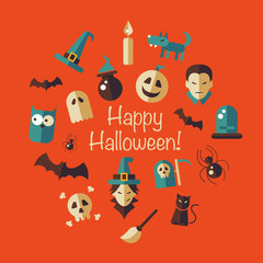 Illustration of flat design Halloween composition