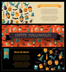 Set of flat design Halloween card templates