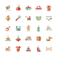 Set of flat design pastel cute baby icons
