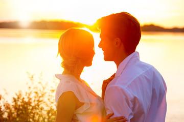 lovers couple in love sunrise