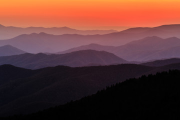 Great Smoky Mountains National Park Sunset at Clingmons Dome