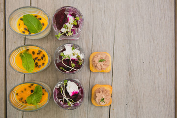 Catering. Salad in a glass