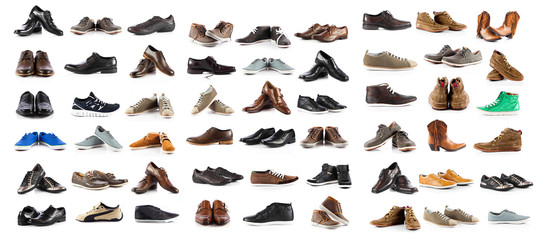 Collection of male shoes over white background