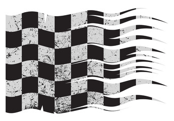 Wavy Checkered Flag Grunged