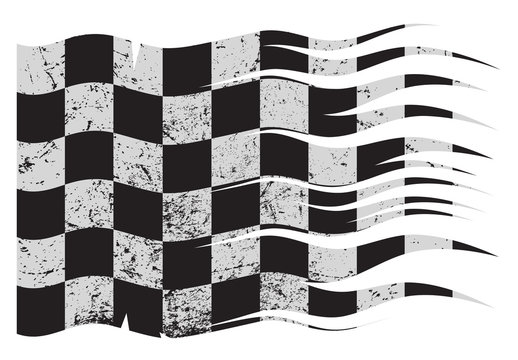 Wavy Checkered Flag Grunged
