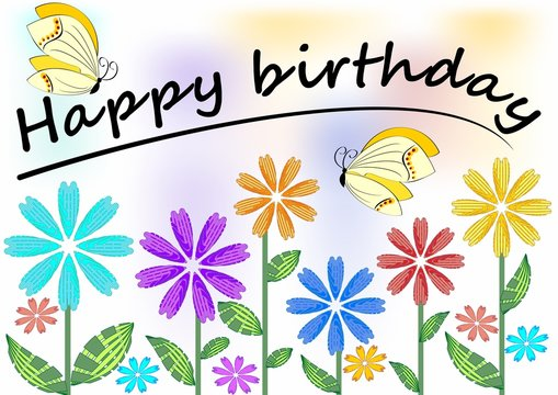 Happy birthday poster with colorful flowers and butterflies, soft pastel colors