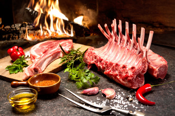 Rack of lamb in front of a fireplace