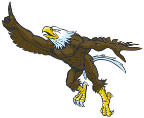 Cartoon Bald Eagle Mascot Doing Number One Gesture