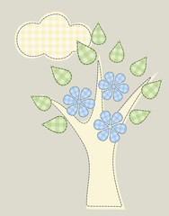 branch of a tree with leaves and flowers dotted thread stitch de