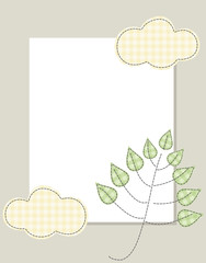 Frame badge cloud tree leaves delicate colors vertical