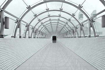 Foto op Canvas Tunnel symmetric vanishing corridor with bent wall