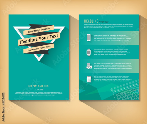 Abstract Triangle Brochure Retro Flat Design Vector Template