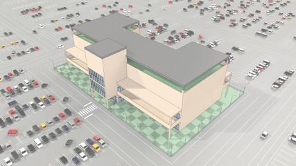 大駐車場完備のショッピングモール