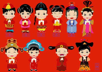 Cute cartoon flat design of Chinese in many costume
