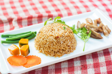 Fried rice with chili or spices that are spicy. A traditional st