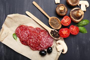 Keuken foto achterwand Vlees Food ingredients for cooking on wooden background