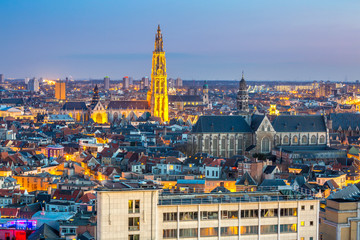 Fotobehang Antwerpen Antwerp cityscape at dusk