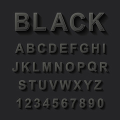 black font design set