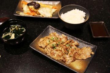 Beef with vegetables teppanyaki Japanese Cooking