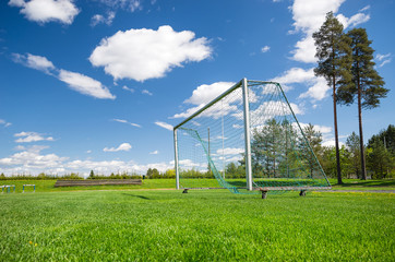 Soccer field and emtpy net