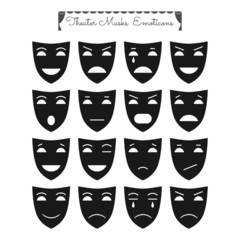 Theatrical masks, emoticons. Characters with different emotions.