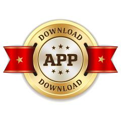 Goldener APP download Siegel mit roter Scherpe