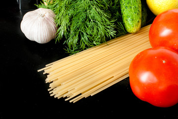 Pasta, cheese and fresh vegetables