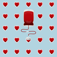 Blood Bag with hearts