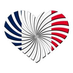 France 3D heart shaped flag