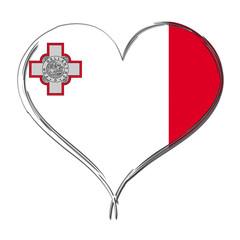 Malta 3D heart shaped flag
