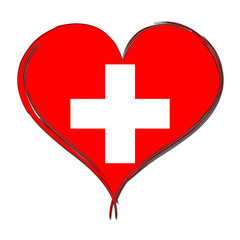 Switzerland 3D heart shaped flag