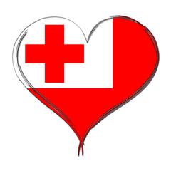 Tonga 3D heart shaped flag