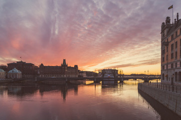 Sunset over Old town of Stockholm, Sweden