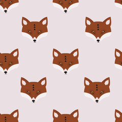 Seamless vector pattern with foxes