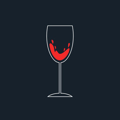 white and red simple wineglass icon