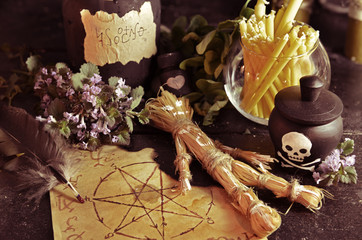 Voodoo theme with love potion and pentagram symbol
