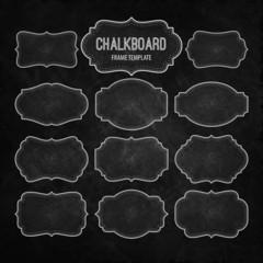 Set of Chalkboard Frames and Labels. Vector illustration