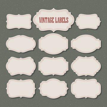 Vector set vintage labels and frame. Vector illustration