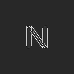 Letter N monogram logo, black and white mockup business card thin line sign