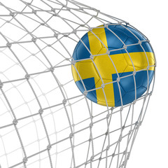 Swedish soccerball in net. Image with clipping path