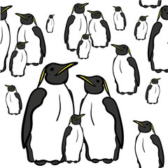 seamless pattern of penguins vector illustration