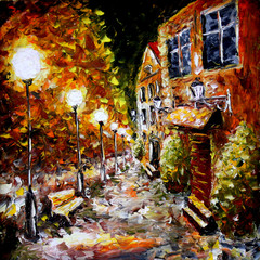 Night old city. Yellow building. Lamps.Oil painting.