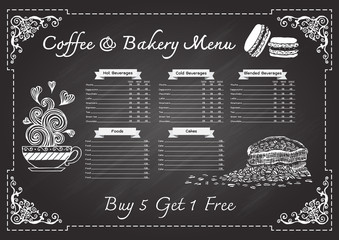 Hand drawn coffee and bakery menu on chalkboard