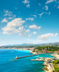 Nice city, France. Azure sea and perfect sunny blue sky