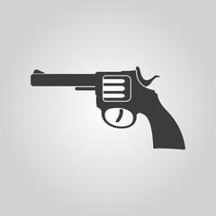 The revolver icon. Gun and weapon symbol. Flat