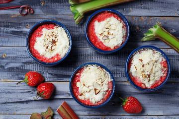 Homemade crumble with strawberry and rhubarb